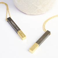 Personalised Black Dipped in Gold Bar Necklace