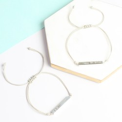 Personalised Sterling Silver Bar and Cord Bracelet
