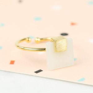 Square New Jade Stone Ring in Gold