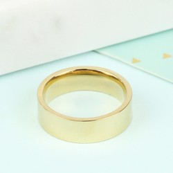 Wide Stainless Steel Band Ring in Gold