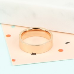 Wide Stainless Steel Band Ring In Rose Gold