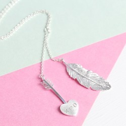Personalised Silver Arrow & Feather Y Necklace