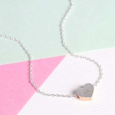 Personalised Brushed Silver & Rose Gold Heart Necklace