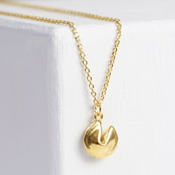 Personalised Gold Fortune Cookie Necklace