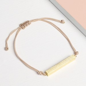 Gold Bar and Cord Bracelet in Stone