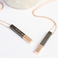 Personalised Black Dipped in Rose Gold Bar Necklace