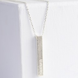 Personalised Silver Diamond Shimmer Bar Necklace