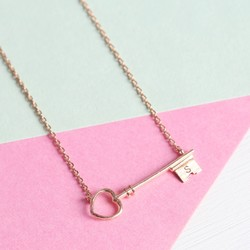 Personalised Rose Gold Key Necklace