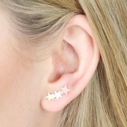 Mixed Metal Shooting Star Stud Earrings