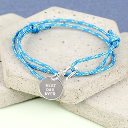 Personalised Men's Cord Bracelet with Disc Charm