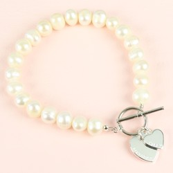 Handmade Pearl & Personalised Double Heart Bracelet