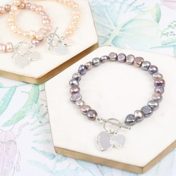 Handmade Nugget Pearl Bracelet with Personalised Double Heart
