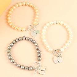 Handmade Pearl & Personalised Double Heart Bracelet