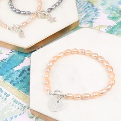 Handmade Rice Pearl Bracelet with Initial Charm