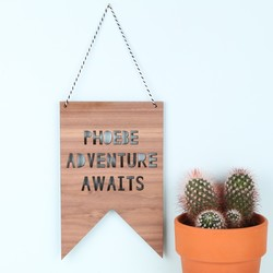 Personalised 'Adventure Awaits' Hanging Wooden Sign