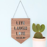 Personalised 'Live Laugh Love' Hanging Wooden Sign