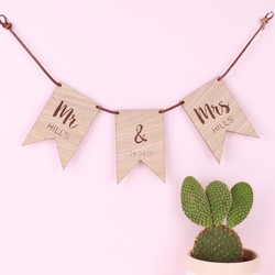 Personalised Wooden Wedding Flag Bunting