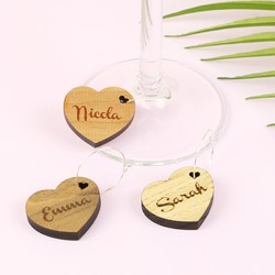 Set of Personalised Wooden Wine Glass Charms