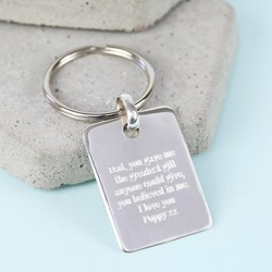 Personalised Sterling Silver Tag Keyring