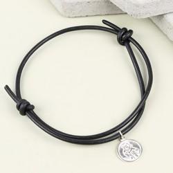 Men's Engraved St Christopher Leather Bracelet in Black