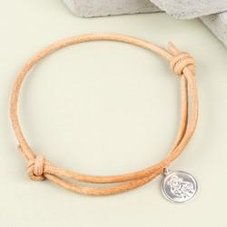 Men's Engraved St Christopher Leather Bracelet in Tan