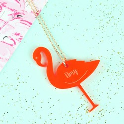 Personalised Acrylic Flamingo Necklace