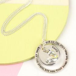 Personalised Sterling Silver Hoop & Swan Necklace