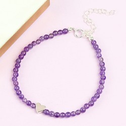Handmade Amethyst Bead and Heart Bracelet