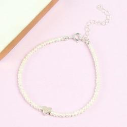 Handmade Pearl Bead and Heart Bracelet