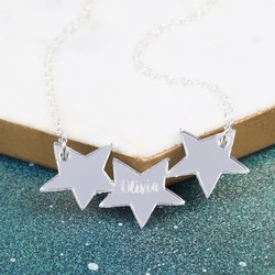 Personalised Acrylic Triple Star Necklace