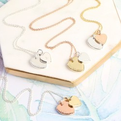 Personalised Mixed Metal Double Heart Charm Necklace