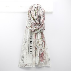 One Hundred Stars Rome Map Print Scarf