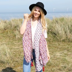 Double Aztec Print Scarf in Tuscan