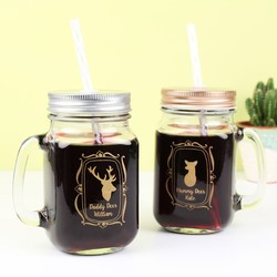 Engraved Daddy Deer & Mummy Deer Mason Jars