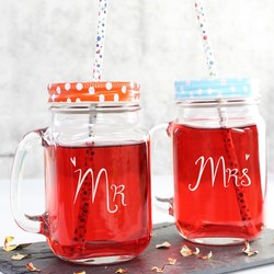 Engraved Mr or Mrs Mason Jar