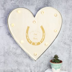 Engraved 'Lucky In Love' Industrial Metal LED Heart Light