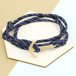 Men's Adjustable Navy Bracelet with Stainless Steel Anchor Clasp