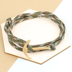 Men's Adjustable Green Bracelet with Stainless Steel Anchor Clasp
