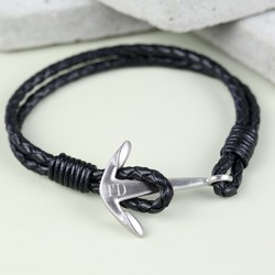 Men's Personalised Bracelet with Stainless Steel Anchor Clasp