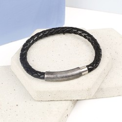 Men's Braided Black Leather Bracelet with Stainless Steel Clasp