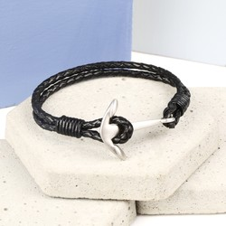Men's Braided Black Leather Bracelet with Matt Anchor Clasp