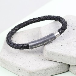 Men's Braided Leather Bracelet with Engraved Stainless Steel Clasp