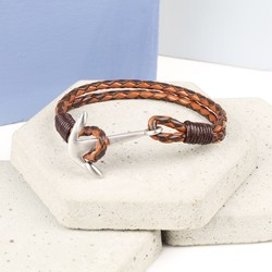 Men's Braided Two Tone Brown Leather Bracelet with Matt Anchor Clasp