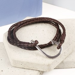 Men's Brown Leather Wrap Bracelet with Stainless Steel Hook Clasp
