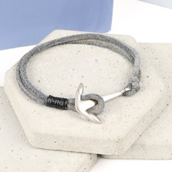 Men's Grey Cord Bracelet with Brushed Stainless Steel Anchor Clasp