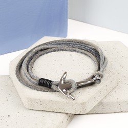 Men's Grey Cord Wrap Bracelet with Stainless Steel Anchor Clasp