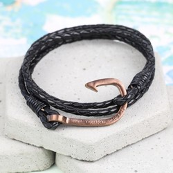 Men's Personalised Black Leather Wrap Bracelet with Hook Clasp
