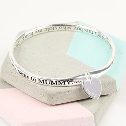 Personalised Silver 'Son' Meaningful Word Bangle
