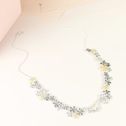 Delicate Mixed Metal Flower Cluster Necklace
