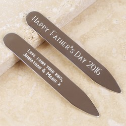 Personalised Sterling Silver Collar Stiffeners